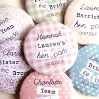 Personalised Hen Party Badges, Peach/Pink/Green