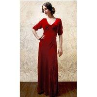 1940s Style Maxi Dress In Deep Red Silk Velvet