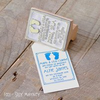 Personalised Birth Announcement Stamp, Black/Grey/Chocolate