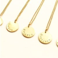 Personalised Name Disc Pendant, Silver/Yellow/Gold