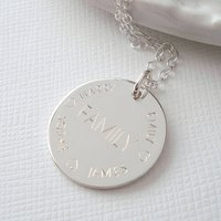 Sterling Silver Engraved Family Necklace, Silver