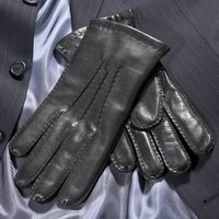 Trent. Men's Handsewn Leather Gloves, Black/Brown/Tan