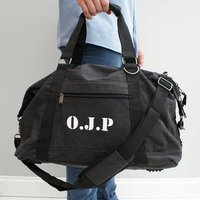 Personalised Mens Canvas Weekend Bag, Brown/Black/White
