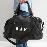Personalised Weekend Bag In Canvas, Brown/Black/White