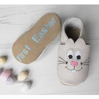 Personalised Easter Bunny Baby Shoes, Cream/White/Baby Pink