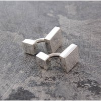 Classic Square Sterling Silver Cufflinks, Silver