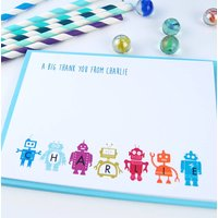 12 Personalised Robot Thank You Cards