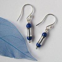 Blue Lapis Lazuli Silver Earrings, Silver