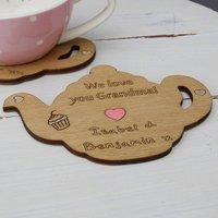 Personalised Teapot Keepsake Coaster, Pink/Turquoise