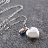 Sterling Silver Heart Pearl Locket Necklace, Silver