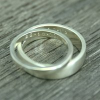 His And Hers Personalised Recycled Gold Wedding Bands, Gold