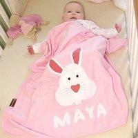 Personalised Baby Bunny Pram Cot Blanket