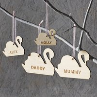 Personalised Swan Family Decoration, Pastel Pink/Pink/Pastel Blue