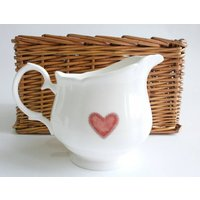 Teapot, Sugar And Cream Jug, Blue Or Red Heart Design, Blue