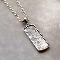 Muonionalusta Meteorite Rectangular Necklace