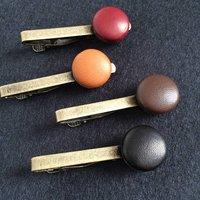 Vintage Leather Tie Clip, Tan/Chocolate/Brown