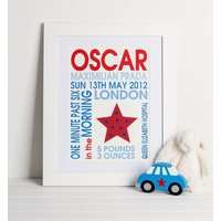 Baby Boy Star Birth Print, Red/Blue
