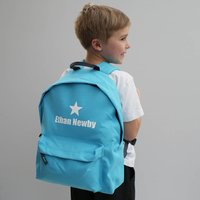 Personalised Colourful Children's Backpack, Black/Blue/Light Pink