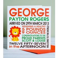 Personalised New Baby Lion Birth Card