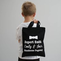 Personalised My Handsome Pageboy Shopper, Black/White/Pale Pink