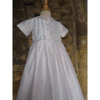 Boys Christening Outfit Blue Gown/Romper, White/Ivory