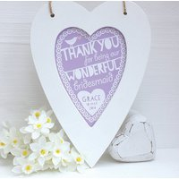 Personalised Bridesmaid Framed Heart Print, Coral/Powder Blue/Blue