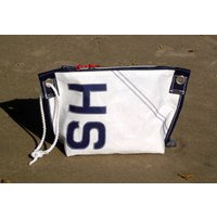 Personalised Sailcloth Wash Bag With Rope Handle, Navy Blue/Navy/Blue