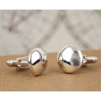 Solid Silver Pebble Cufflinks, Silver