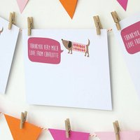 12 Personalised Pink Dog Thank You Cards, Pink