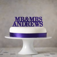 Personalised Wedding Cake Topper, Purple/Lilac/Fuchsia