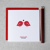 Personalised 'Love Birds' Anniversary Card, Red/Silver/Gold