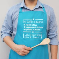 Personalised Daddys Are Made Of Apron, Turquoise/Black/Purple