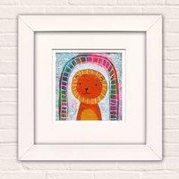 Zoo Lion, Bear, Bunny, Fox Art Print For Boys And Girls