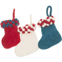 Handmade Felt Gumball Stockings, Green/Red/White