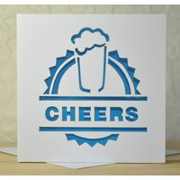 Cheers Laser Cut Beer Card, Red/Lilac/Pink