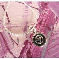 Silver Heart Circle Necklace, Silver