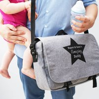 Personalised Mens Baby Changing Bag, Grey/Navy Blue/Navy