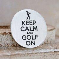 Keep Calm Silver Golf Ball Marker