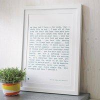 'Dad' Poem Art Print, Grey/Midnight/Pink