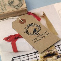 Merry Christmas Gift Tag Rubber Stamp