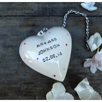 Personalised Ceramic Wedding Heart, White/Cream/Powder Blue