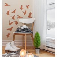 Copper Effect Bird Wall Sticker Set