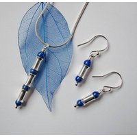 Blue Lapis Lazuli Silver Necklace And Earrings Set, Silver