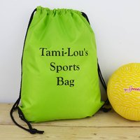 Personalised P.E. Sports Bag Water Resistant, Lime Green/Lime/Green