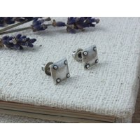 Steampunk Sterling Silver Earrings Studs, Silver