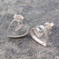 Heart Lace Silver Stud Earrings, Silver