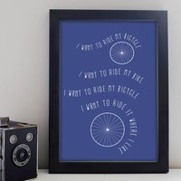 Bicycle Print, Blue/Charcoal/Grey