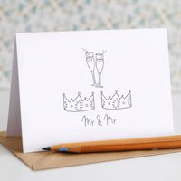 Mr And Mr Wedding Card, Grey/Blue/Red