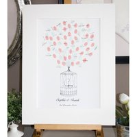 Personalised Lovebirds Thumbprint Guestbook, Persimmon/Green/Straw
