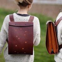 Leather 'Carapacho' Urban Explorer Backbag, Black/Chestnut/Tan